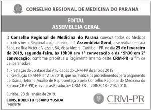 CRM-PR realiza Assembleia Geral para a prestação de contas 2018