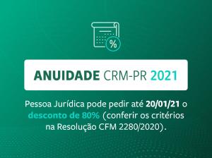 Pessoa Jurídica pode solicitar desconto de 80% na anuidade 2021 até o dia 20 de janeiro