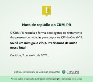 CRM-PR e CFM manifestam repúdio ao desrespeito e falta de civilidade na CPI da Pandemia