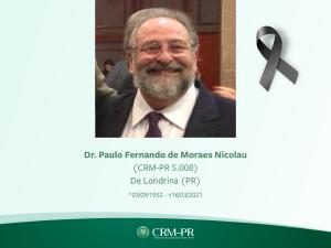 Pesar pelo falecimento do psiquiatra e professor Paulo Fernando de Moraes Nicolau, de Londrina