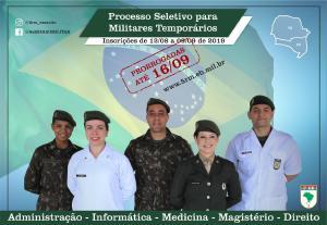 Comando da 5ª Região Militar seleciona especialistas em Medicina, Odontologia, Farmácia