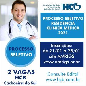 Seleção aberta para residência em Clínica Médica no Hospital de Cachoeira do Sul, RS